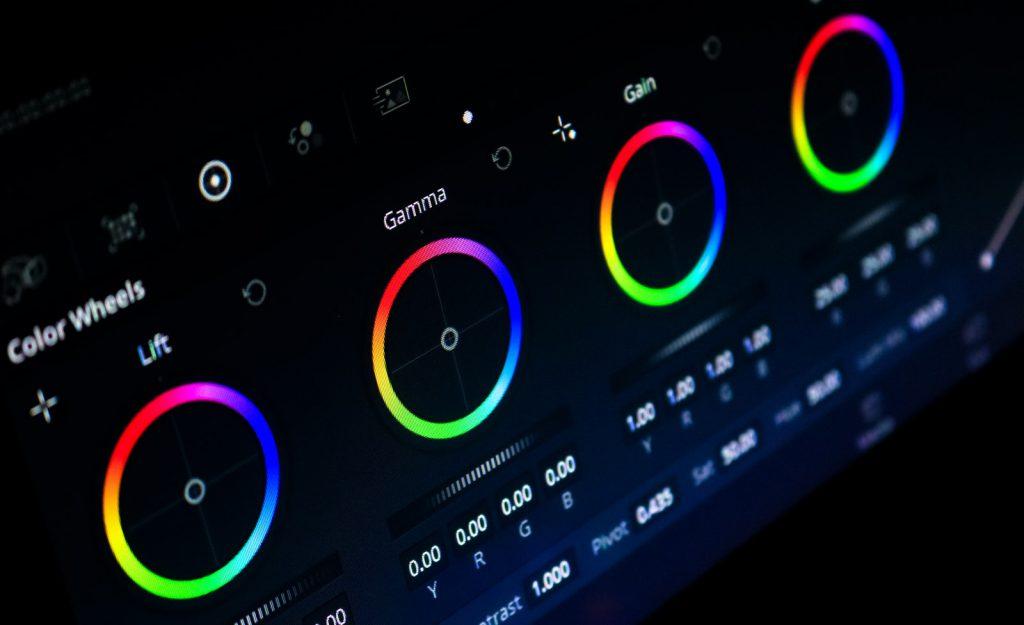 black and blue audio mixer